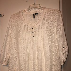 Lace white blouse overlay with matching white tank